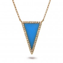 0.13ct Diamond & 0.70ct Composite Turquoise 14k Rose Gold Necklace