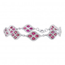 2.08ct Diamond & 6.70ct Ruby 14k White Gold Bracelet