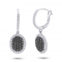 0.84ct 14k White Gold Black & White Diamond Earrings