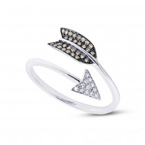 0.17ct 14k White Gold White & Champagne Diamond Arrow Ring