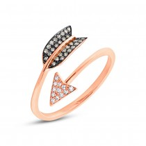 0.17ct 14k Rose Gold White & Champagne Diamond Arrow Ring Size 4.5