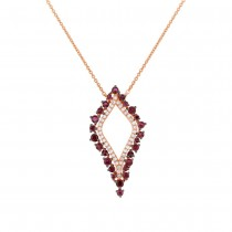 0.19ct Diamond & 0.81ct Ruby 14k Rose Gold Necklace
