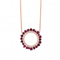 0.17ct Diamond & 0.72ct Ruby 14k Rose Gold Necklace