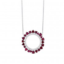 0.17ct Diamond & 0.76ct Ruby 14k White Gold Necklace