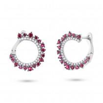 0.20ct Diamond & 0.72ct Ruby 14k White Gold Earrings