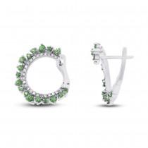 0.20ct Diamond & 0.76ct Green Garnet 14k White Gold Earrings