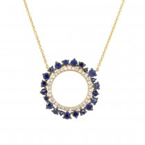 0.17ct Diamond & 0.77ct Blue Sapphire 14k Yellow Gold Necklace