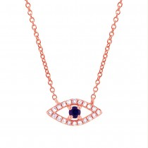 0.09ct Diamond & 0.08ct Blue Sapphire 14k Rose Gold Eye Necklace