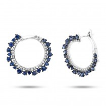 0.24ct Diamond & 1.22ct Blue Sapphire 14k White Gold Earrings