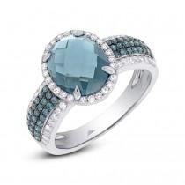 0.30ct Diamond & 3.54ct London Blue Topaz 14k White Gold Ring