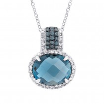 0.18ct Diamond & 3.54ct London Blue Topaz 14k White Gold Pendant Necklace