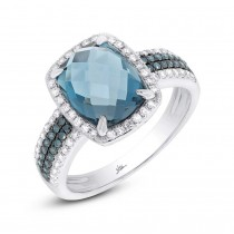 0.30ct Diamond & 3.98ct London Blue Topaz 14k White Gold Ring