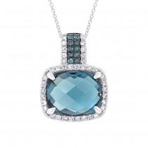 0.19ct Diamond & 3.99ct London Blue Topaz 14k White Gold Pendant Necklace