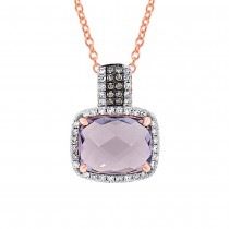 0.23ct White & Champagne Diamond & 3.08ct Amethyst Rose Gold Pendant Necklace