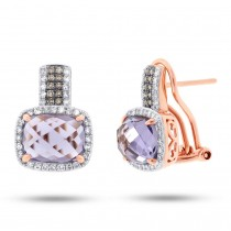 0.43ct White & Champagne Diamond & 4.43ct Amethyst Rose Gold Earrings