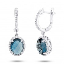 0.36ct Diamond & 5.60ct London Blue Topaz 14k White Gold Earrings