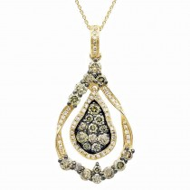 1.10ct 14k Yellow Gold White & Champagne Diamond Pendant Necklace