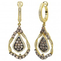 1.64ct 14k Yellow Gold White & Champagne Diamond Earrings