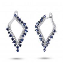 0.25ct Diamond & 1.06ct Blue Sapphire 14k Whtie Gold Earrings