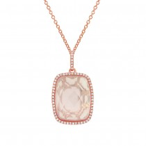 0.19ct Diamond & 8.92ct Rose Quartz 14k Rose Gold Pendant Necklace