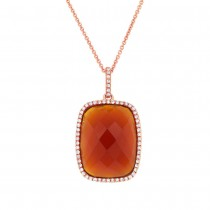 0.19ct Diamond & 8.53ct Red Agate 14k Rose Gold  Pendant Necklace