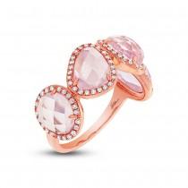 0.27ct Diamond & 4.03ct Rose Quartz 14k Rose Gold Ring