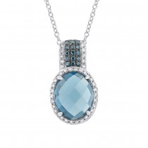 0.25ct White & Treated Blue Diamond & 4.06ct London Blue Topaz 14k White Gold Pendant Necklace
