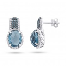 0.46ct White & Treated Blue Diamond & 5.18ct London Blue Topaz 14k White Gold Earrings