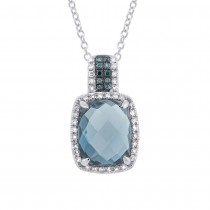 0.23ct White & Treated Blue Diamond & 4.16ct London Blue Topaz 14k White Gold Pendant Necklace