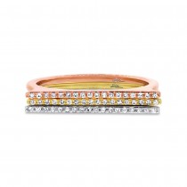 0.15ct 14k Three-tone Gold Diamond Bar Lady's Ring 3-pc