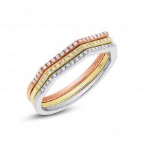 0.21ct 14k Three-tone Gold Diamond Lady's Ring 3-pc Size 4.5