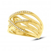 0.19ct 14k Yellow Gold Diamond Bridge Ring
