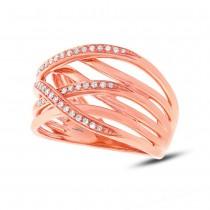 0.19ct 14k Rose Gold Diamond Bridge Ring