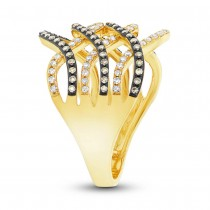 0.59ct 14k Yellow Gold White & Champagne Diamond Lady's Ring