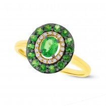 0.08ct Diamond & 0.84ct Green Garnet 14k Yellow Gold Ring