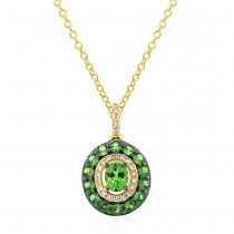 0.09ct Diamond & 0.88ct Green Garnet 14k Yellow Gold Pendant Necklace