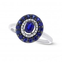 0.08ct Diamond & 0.84ct Blue Sapphire 14k White Gold Ring