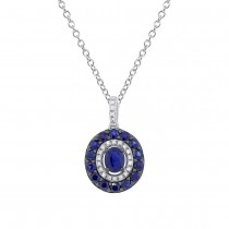 0.09ct Diamond & 0.99ct Blue Sapphire 14k White Gold Pendant Necklace
