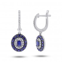 0.21ct Diamond & 1.20ct Blue Sapphire 14k White Gold Earrings