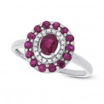 0.08ct Diamond & 0.99ct Ruby 14k White Gold Ring