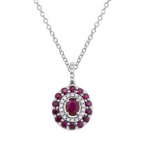 0.09ct Diamond & 1.03ct Ruby 14k White Gold Pendant Necklace