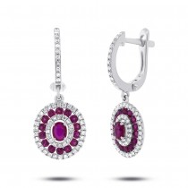0.21ct Diamond & 1.33ct Ruby 14k White Gold Earrings