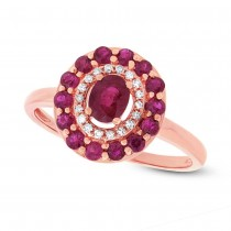 0.08ct Diamond & 0.99ct Ruby 14k Rose Gold Ring
