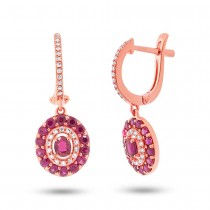 0.21ct Diamond & 1.33ct Ruby 14k Rose Gold Earrings