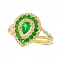 0.37ct Diamond & 0.81ct Green Garnet 14k Yellow Gold Ring