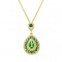 0.27ct Diamond & 0.93ct Green Garnet 14k Yellow Gold Pendant Necklace