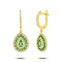0.47ct Diamond & 1.02ct Green Garnet 14k Yellow Gold Earrings