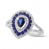 0.37ct Diamond & 0.93ct Blue Sapphire 14k White Gold Ring