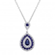 0.27ct Diamond & 1.06ct Blue Sapphire 14k White Gold Pendant Necklace