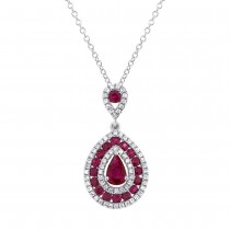 0.27ct Diamond & 1.03ct Ruby 14k White Gold Pendant Necklace